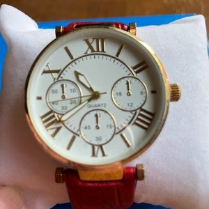 NWOT Quartz Watch with Red Faux Reptile Watch Band